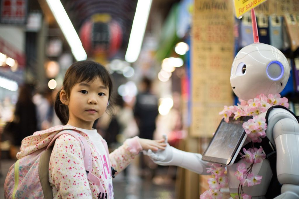 girl-robot-ipad-mall-people-touching