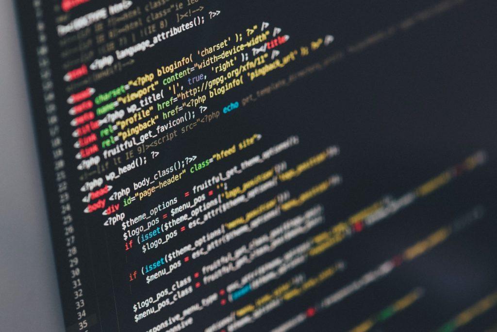 Website code on a computer screen