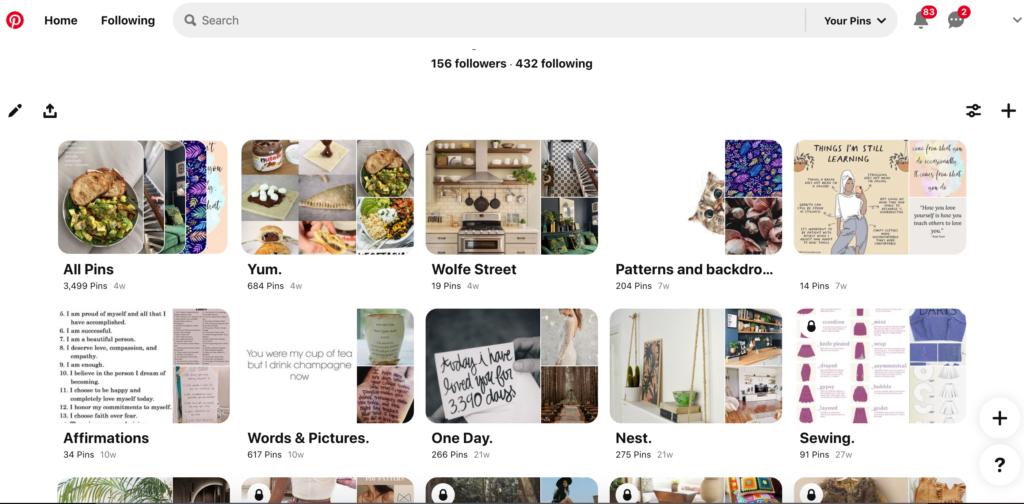 Screenshot of Pinterest boards on profile for PInterest marketing