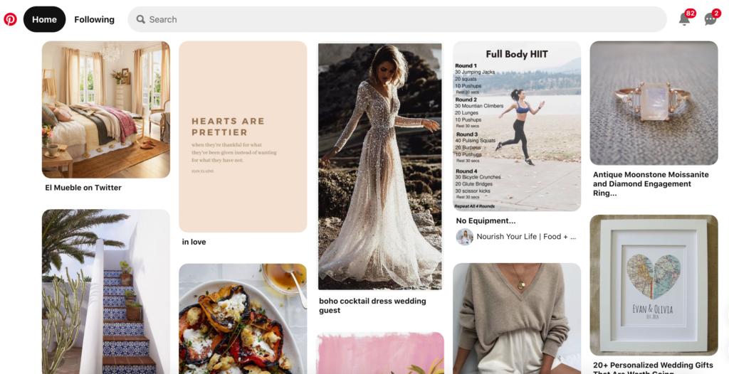 Screenshot of Pinterest home