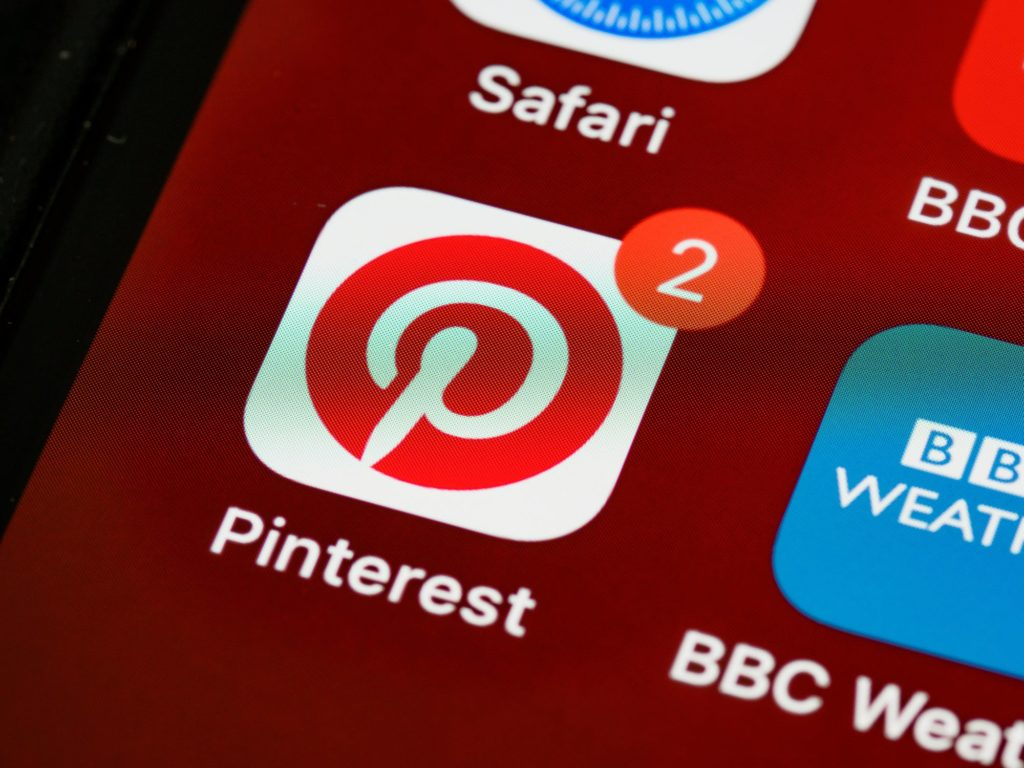 Pinterest app icon on smartphone