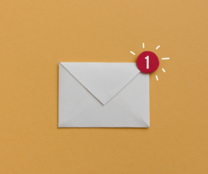 Unread email envelope on a yellow background