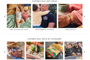 Screenshot of notonthehighstreet.com Father's Day campaign gift guide