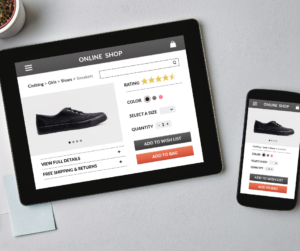 An online store displayed on a tablet and smartphone