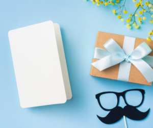 Father's day gifts on a blue background