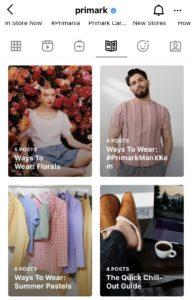 Screenshot of Primark's Instagram Shopping Guides