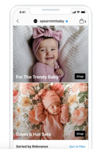 Screenshot of Spearmint baby Instagram Shopping
