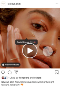 A screenshot of the checkout feature on Instagram