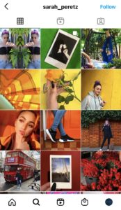 A screenshot of a rainbow feed as an example on how to plan an Instagram feed