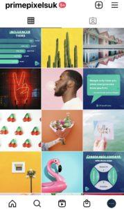A screenshot of PrimePixels Instagram feed