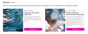 A screenshot of FutureLearn, a platform for online digital marketing courses