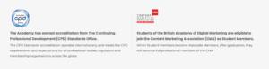 A screenshot of The British Academy of Digital Marketing