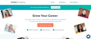 A screenshot of HubSpot Academy showing online digital marketing courses