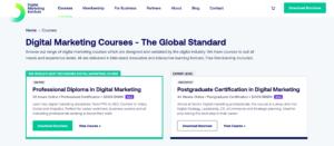 A screenshot of the Digital Marketing Institute homepage