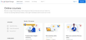 A screenshot of the Google Digital Garage as an option for online digital marketing courses