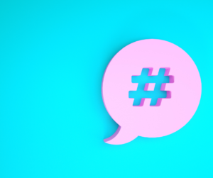 A pink hashtag used for social media algorithms