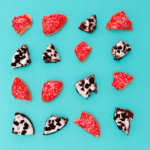 Pieces of fruit on a blue background as an example of how to plan an Instagram feed