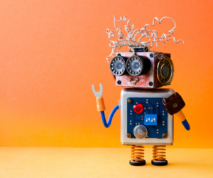 A robot on a bright background