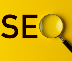 SEO letters on a yellow background