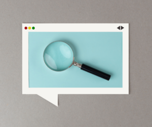 A magnifying glass on a blue and grey background show seo simplified