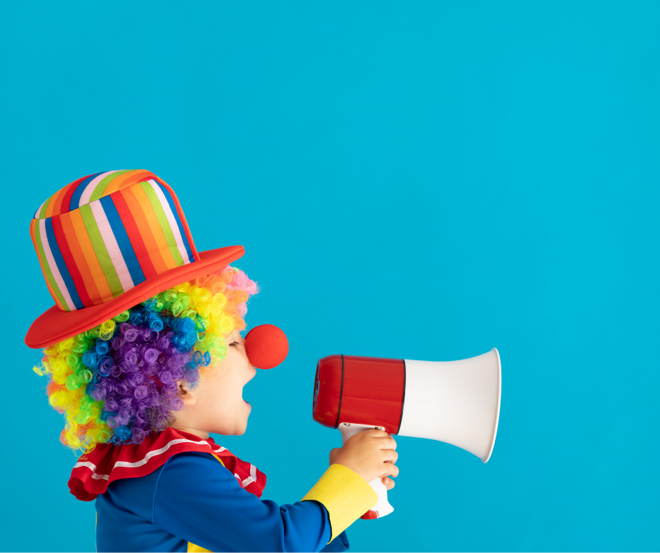 A child dressed up as a clown shouting about a brand messaging strategy
