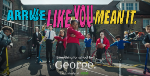 """A screenshot of George """"Arrive like you mean it"""" back-to-school marketing campaign"""