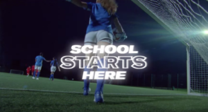 """A screenshot of Sports Direct """"School Starts Here"""" back-to-school campaign"""
