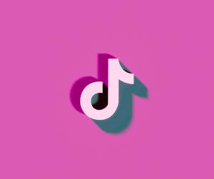 The TikTok logo on a pink background